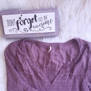 Free People Bell Sleeve V Neck Top